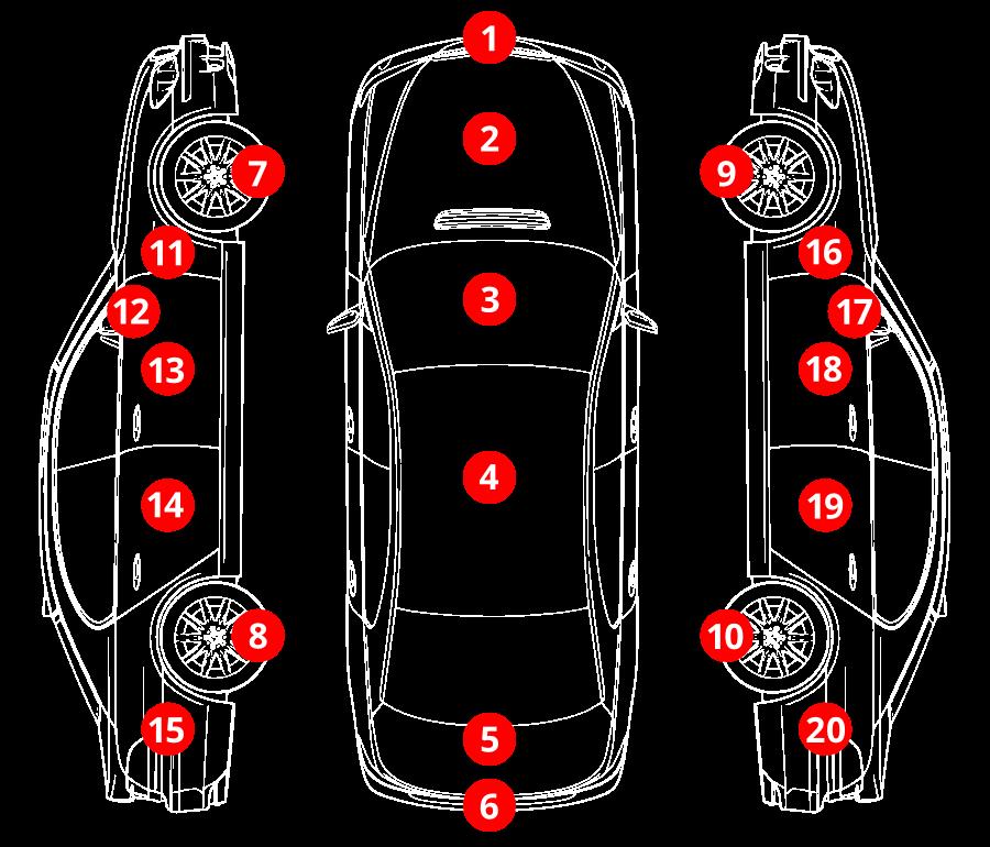 Se a viatura sofreu algum dano, pressione os botões numerados para identificar as zonas afetadas.
